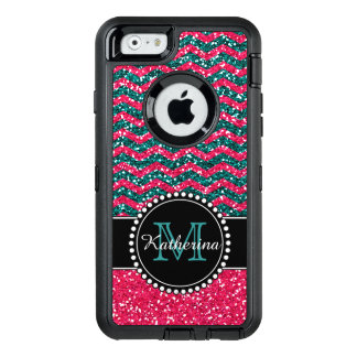 Blue & Pink Glitter Chevron Personalized Defender OtterBox Defender iPhone Case