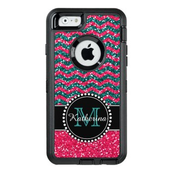 Blue & Pink Glitter Chevron Personalized Defender Otterbox Defender Iphone Case by CoolestPhoneCases at Zazzle