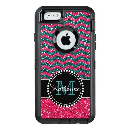 Blue & Pink Glitter Chevron Personalized Defender Otterbox Defende