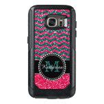 Blue & Pink Glitter Chevron Personalized Defender Otterbox Samsung Galaxy S7 Case at Zazzle