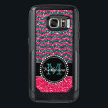"Blue &amp; Pink Glitter Chevron Personalized Defender OtterBox Samsung Galaxy S7 Case<br><div class=""desc"">Black and pink glitter chevron pattern sturdy defender otter box Samsung Galaxy 7.   Personalized with your name and monogram.