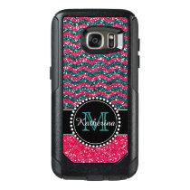Blue & Pink Glitter Chevron Personalized Defender OtterBox Samsung Galaxy S7 Case