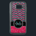 "Blue &amp; Pink Glitter Chevron Personalized Defender OtterBox Samsung Note 5 Case<br><div class=""desc"">Black and pink glitter chevron pattern sturdy defender otter box .   Personalized with your name and monogram.  Design by Caroline Leskiw</div>"
