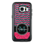 Blue & Pink Glitter Chevron Personalized Otterbox Samsung Galaxy S7 Edge Case at Zazzle