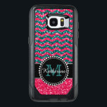 "Blue &amp; Pink Glitter Chevron Personalized OtterBox Samsung Galaxy S7 Edge Case<br><div class=""desc"">Black and pink glitter chevron pattern sturdy defender otter box Samsung Galaxy S7 Edge Case   Personalized with your name and monogram.