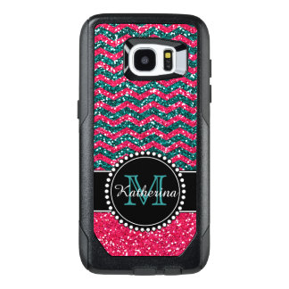 Blue & Pink Glitter Chevron Personalized OtterBox Samsung Galaxy S7 Edge Case