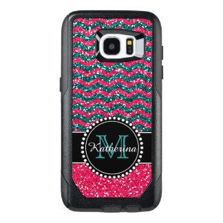 Blue & Pink Glitter Chevron Personalized OtterBox Samsung Galaxy S7 Edge Case