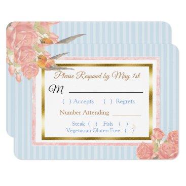 Wedding Themed Blue PInk Gold Bird & Floral Wedding RSVP card