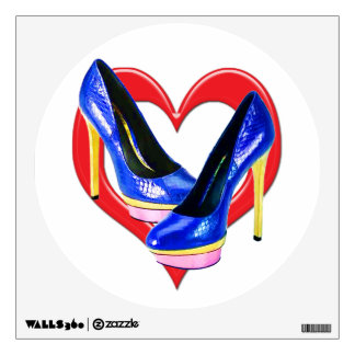 Blue Pink & Gold Metallic Snake Platform Pump Wall Sticker