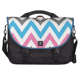 Blue,Pink,Gray and White Zigzags Commuter Bag