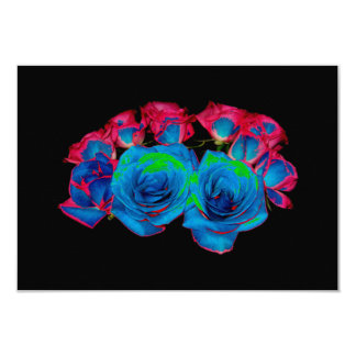 Blue,Pink & Green Bouquet (Solarized Effect) Card