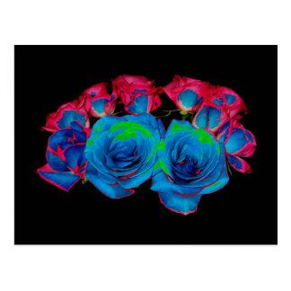 Blue,Pink & Green Bouquet (Solarized Effect) Postcard