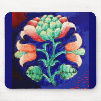 BLUE PINK GREEN FLORAL Stylized Fantasy Flower Mouse Pad
