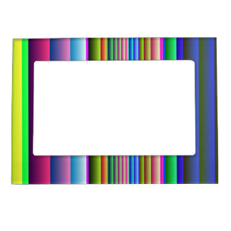 Blue Pink Green Stripes Magnetic Picture Frame