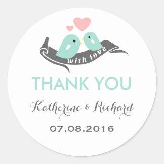Blue Pink Grey Love Birds Wedding Favor Sticker