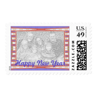 blue pink happy new year stamps