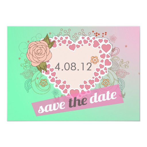 Blue Pink Heart Shaped Floral Save the Date Card
