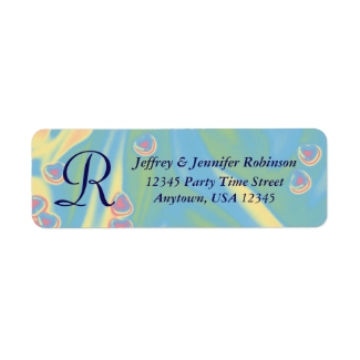 Blue, Pink Hearts Name and Address Label Monogram