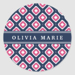 Blue Pink Ikat Mod Pattern with Name Classic Round Sticker
