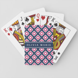 Blue Pink Ikat Mod Pattern with Name Playing Cards