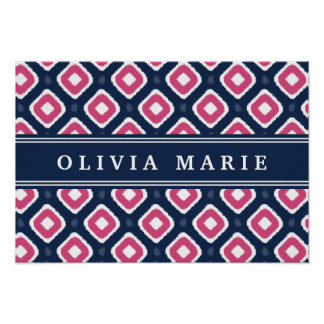 Blue Pink Ikat Mod Pattern with Name Poster