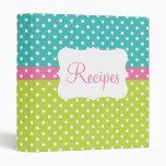 Blue, Pink, & Lime Polka Dot Recipe 3 Ring Binder
