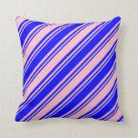 [ Thumbnail: Blue & Pink Lines Pattern Throw Pillow ]