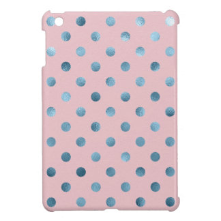 Blue Pink Metallic Faux Foil Polka Dot Swiss Dots Case For The iPad Mini
