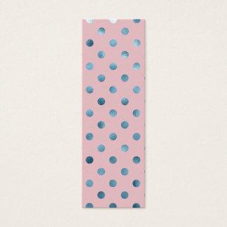 Blue Pink Metallic Faux Foil Polka Dot Swiss Dots Mini Business Card
