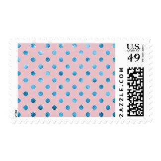 Blue Pink Metallic Faux Foil Polka Dot Swiss Dots Postage