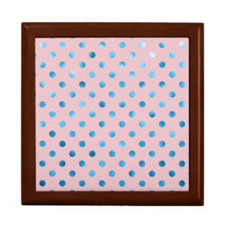 Blue Pink Metallic Foil Polka Dot Mauve Swiss Dots Gift Boxes