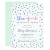 Blue Pink Mint Confetti Gender Reveal Invitation