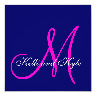 Blue Pink Monogram Wedding Invitations