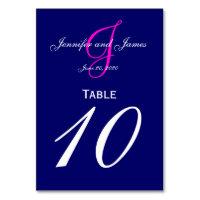 Blue Pink Monogram Wedding Table Number Card