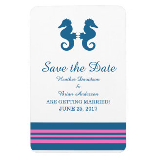 Blue Pink Nautical Seahorse Save the Date Magnet