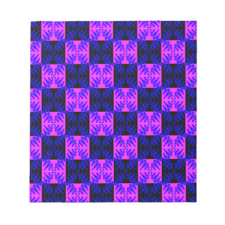 Blue Pink Optical Neon Design Illusion Pattern Notepads