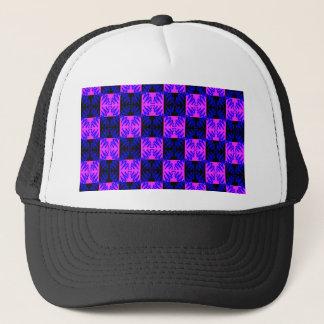 Blue Pink Optical Neon Design Illusion Pattern Trucker Hat