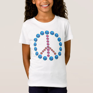 Blue Pink Peace Sign Shirt