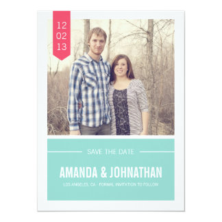 Blue & Pink Photo Save The Date Announcements