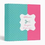 Blue&Pink Polka Dot Personalized Coupon Organizer Binders