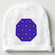 Blue pink purpel checked floral plaid pattern No2 Baby Beanie