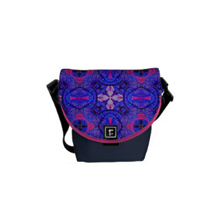 Blue pink purpel checked floral plaid pattern No2 Messenger Bag