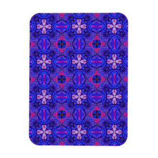 Blue pink purpel checked floral plaid pattern No2 Rectangular Photo Magnet