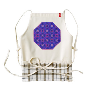 Blue pink purpel checked floral plaid pattern No2 Zazzle HEART Apron
