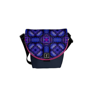 Blue pink purpel checked plaid pattern No1 Courier Bag