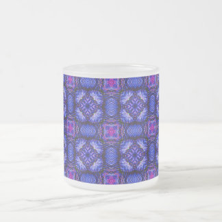 Blue pink purpel checked plaid pattern No1 Frosted Glass Coffee Mug
