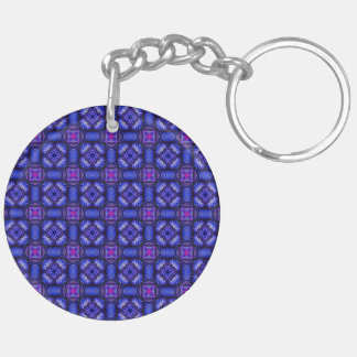 Blue pink purpel checked plaid pattern No1 Keychain