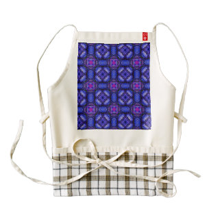 Blue pink purpel checked plaid pattern No1 Zazzle HEART Apron