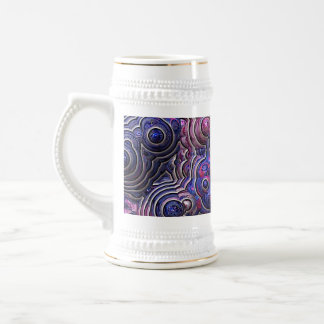 Blue pink purple abstract bubble cells beer stein