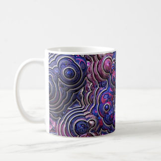 Blue pink purple abstract bubble cells coffee mug